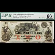 1860's PMG 66 EPQ $2 New Hampshire, Farmington Obsolete Banknote