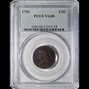 1793 Pcgs VG8BN Libety Cap Half Cent