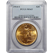 1914-S Pcgs MS65 $20 St Gaudens