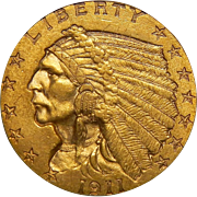 1911-D Pcgs MS60 $2.50 Strong D Indian Gold