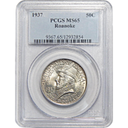1937 Pcgs MS65 Roanoke Half Dollar