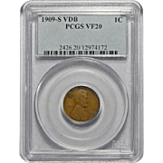 1909-S VDB Pcgs VF20BN Lincoln Wheat Cent