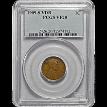 1909-S VDB Pcgs VF20BN Lincoln Wheat Cent