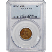 1909-S VDB Pcgs VF25BN Lincoln Wheat Cent