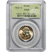 1943-S Pcgs MS65 Washington Quarter
