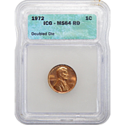 1972 Icg MS64RD Doubled Die Obverse Lincoln Memorial Cent