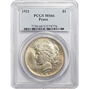 1921 Pcgs MS66 High Relief Peace Dollar