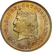 1879 Pcgs PR65 $4 Flowing Hair Stella Gold