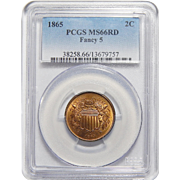 1865 Pcgs MS66RD Fancy 5 Two-Cent Piece