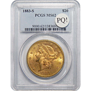 1883-S Pcgs MS62 PQ! $20 Liberty Head Gold