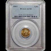 1861 Pcgs AU55 Gold Dollar