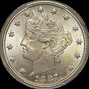 1887 Ngc MS65 Liberty Nickel