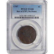 1797 Pcgs VG08 Rev of 1797, No Stems Draped Bust Cent