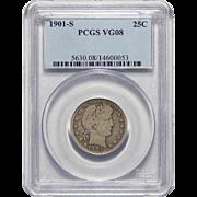 1901-S Pcgs VG8 Barber Quarter