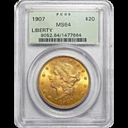 1907 Pcgs MS64 $20 Liberty Head Gold