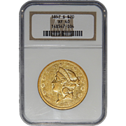 1857-S Ngc XF40 $20 Liberty Head Gold