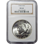 1934-D Ngc MS64 Peace Dollar