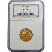 1911-S Ngc MS62 $5 Indian Gold