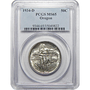 1934-D Pcgs MS65 Oregon Half Dollar