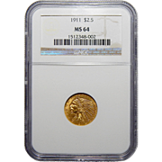 1911 Ngc MS64 $2.50 Indian Gold