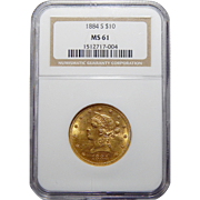 1884-S Ngc MS61 $10 Liberty Head Gold