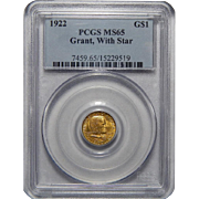 1922 Pcgs MS65 $1 Gold Grant, With Star