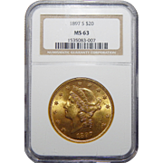 1897-S Ngc MS63 $20 Liberty Head Gold