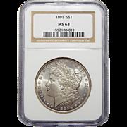 1891 Ngc MS63 Morgan Dollar