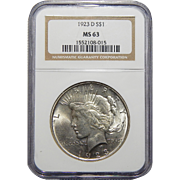 1923-D Ngc MS63 Morgan Dollar