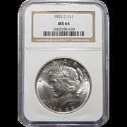 1922-D Ngc MS64 Peace Dollar
