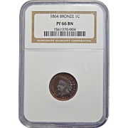 1864 Ngc PR66BN Bronze Indian Head Cent