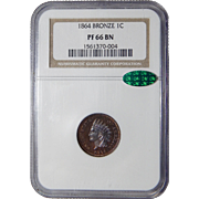 1864 Ngc/Cac PF66BN Bronze Indian Cent