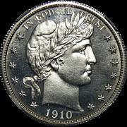 1910 Ngc PF66 Barber Half Dollar