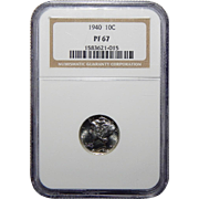 1940 Ngc PF67 Mercury Dime