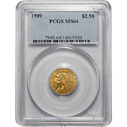 1909 Pcgs MS64 $2.50 Indian Gold