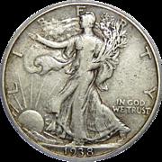 1938-D Pcgs VF25 Walking Liberty Half Dollar