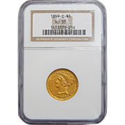 1859-C Ngc AU55 $5 Liberty Head Gold