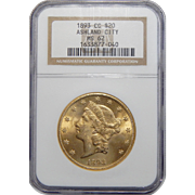 1893-CC Ngc MS62 Ashland City $20 Liberty Head Gold