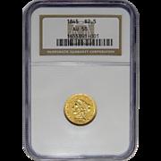 1845 Ngc AU58 $2.50 Liberty Head Gold