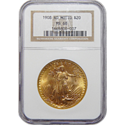 1908 Ngc MS68 $20 No Motto St. Gaudens