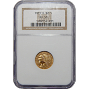 1911-D Ngc AU58 $2.50 Strong D Indian Head Gold