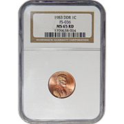 1983 Ngc MS65RD Doubled Die Reverse Lincoln Memorial Cent