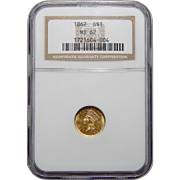 1862 Ngc MS62 $1 Gold