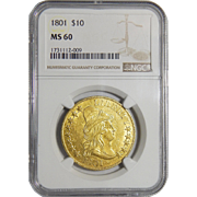 1801 Ngc MS60 $10 Draped Bust Gold