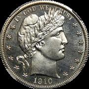 1910 Ngc PF65 Barber Half Dollar