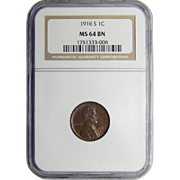 1916-S Ngc MS64BN Lincoln Wheat Cent