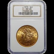 1878 Ngc MS63 $20 Liberty Head Gold