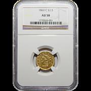 1860-C Ngc AU58 $2.50 Liberty Head Gold
