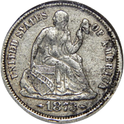 1873-CC Ngc VF20 Arrows Liberty Seated Dime