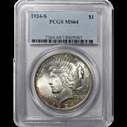 1924-S Pcgs MS64 Peace Dollar